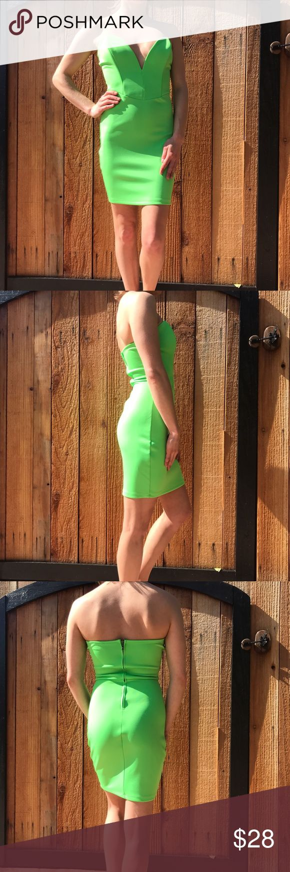 Lime Green Miami Dress Strapless with zipper up the back. Wire in chest area to keep it up. Measurements upon request Hot Miami Styles  Dresses Mini