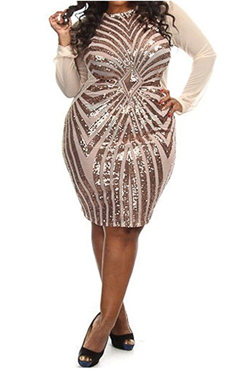 8bc38b77e43 Women's Plus-Size Diamond Pattern Gauze Sequined Bodycon Cocktail Dress,  Champagne, 3X