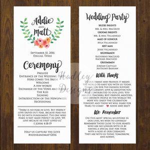 simple wedding program template