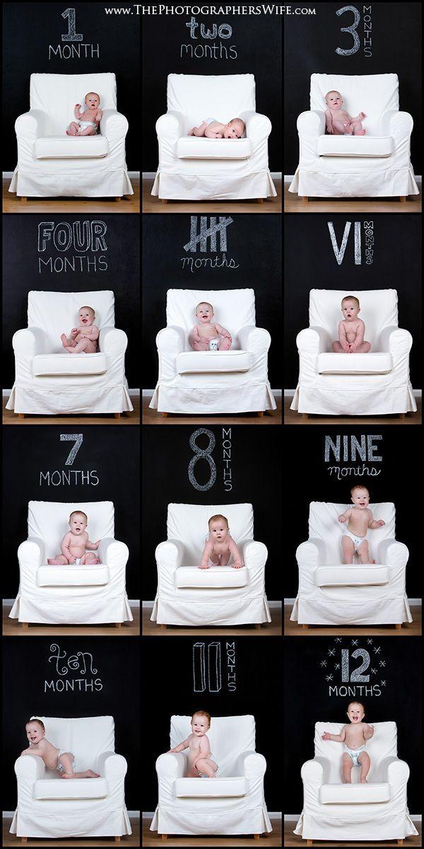 Fotos do desenvolvimento do bebê - O bebê usa apenas fralda em todas as fotos e registra-se: – Mês escrito de maneiras diferentes na lousa.