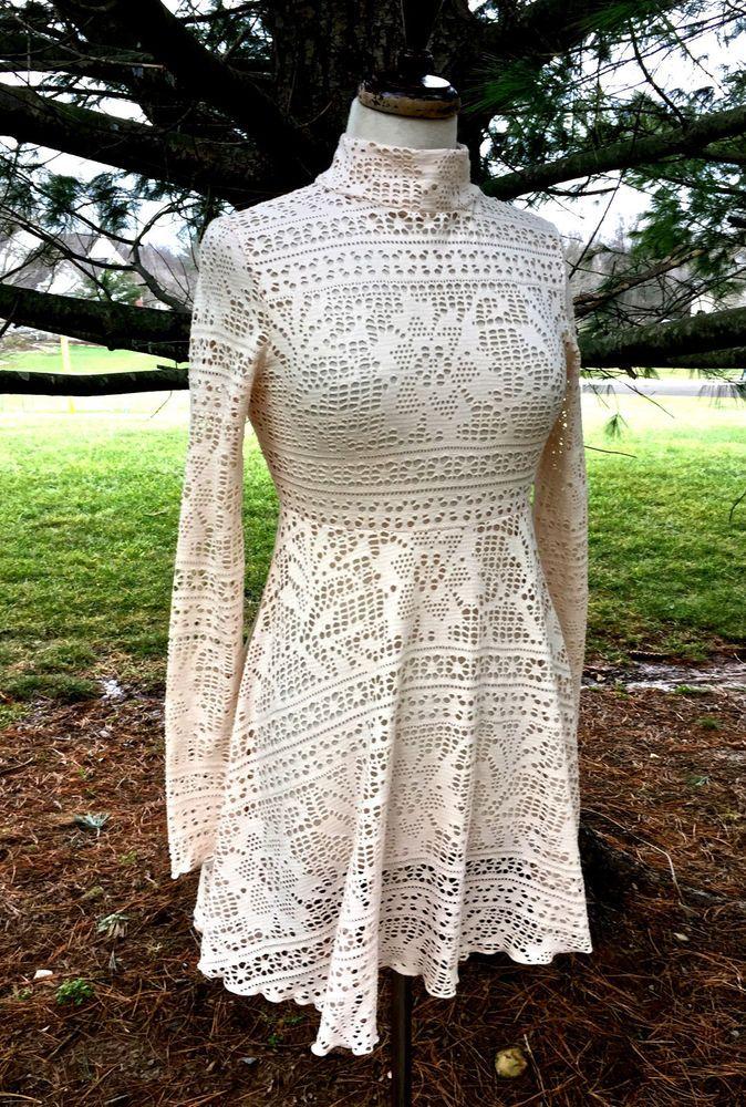 NWT Free People ivory lace babydoll Beach Dinner Date Dress missing slip XS #FreePeopleBeach #lacebabydolldress #versatile
