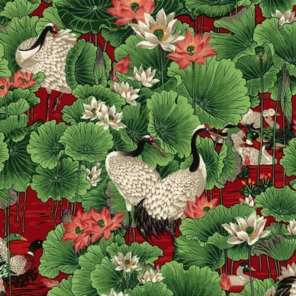 Robert Kaufman Fabrics: ES-3670-5 CRIMSON from Oriental Traditions Original Collection