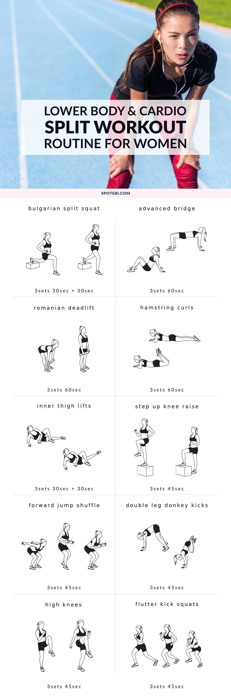 Exercise smart and keep burning calories even after your workout is over with this lower body and cardio Split workout. Lift, tone and tighten your booty, legs and thighs and show off your hard work in no time! http://www.spotebi.com/workout-routines/lower-body-cardio-split-workout/