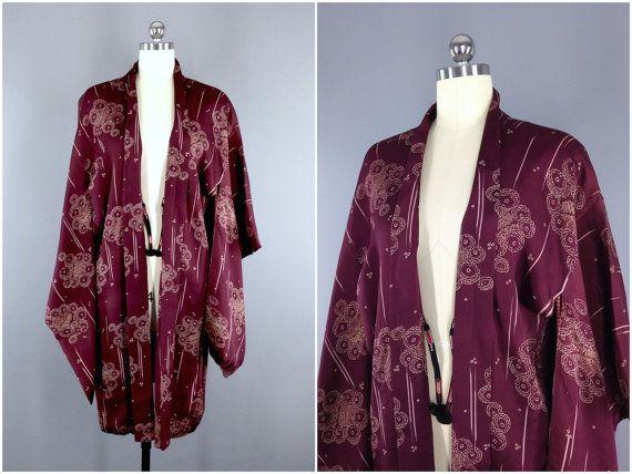 Vintage Kimono / Silk Robe / Vintage Haori / Robe by ThisBlueBird