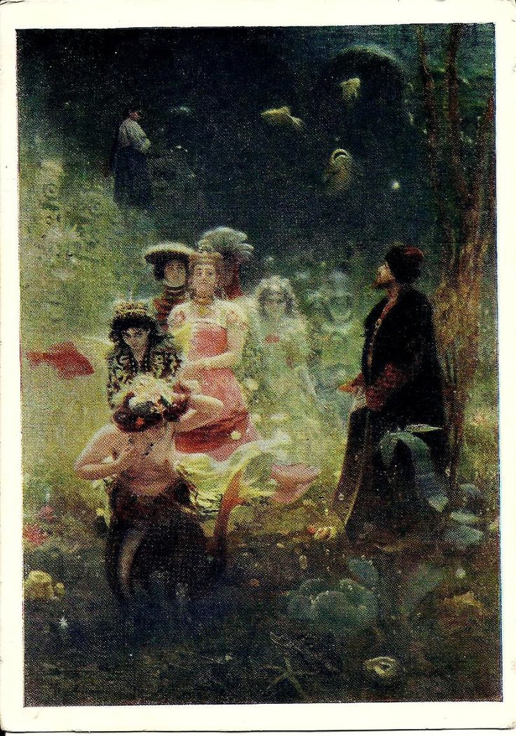 Fairy Tale, Sadko in Underwater Kingdom, Russian Vintage Postcard, artist Repin, unused print 1957 by LucyMarket on Etsy
