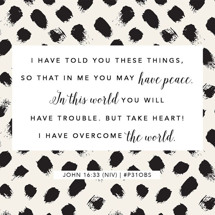 I have told you these things, so that in me you may have peace. In this world you will have trouble, but take heart ! I have overcome the world.