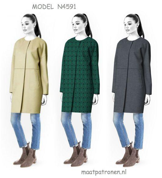 Een GEVOERDE MANTEL in Chanel stijl voor casual chic dames! Patroon op maat. MAATPATRONEN.  MODEL N4591 http://maatpatronen.nl/mod-p.php?t=0&mod=4591