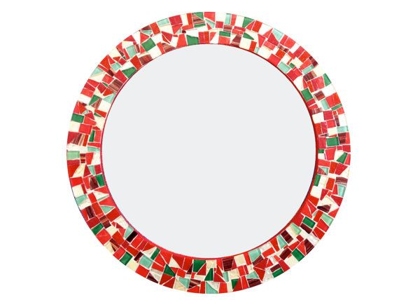 Red Gold Green Mosaic Wall Mirror by GreenStreetMosaics on Etsy, $160.00