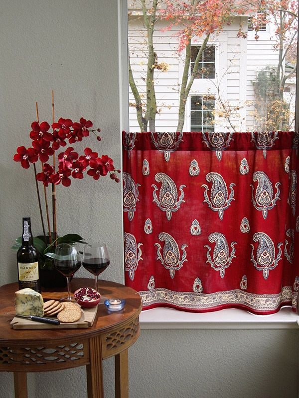 Red kitchen curtain, Paisley print red café curtain, Red paisley kitchen curtains | Saffron Marigold