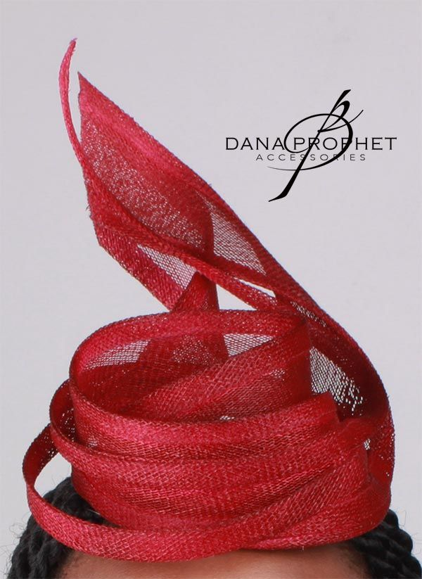 Gorgeous Red Twist Fascinator. Classic and elegant.  https://danaprophetaccessories.com/fascinators/red-twist-sinamay-fascinator/  #hat #fascinator #races #durbanjuly #horse #horserace #southafrica #kentuckyderby #royal #sinamay #celebrations #weddings #bridal #bridesmaids #derbyhat #pillbox #headpiece #melbournecup #royalascot #derbyday #Oaksday #accessories #danaprophetaccessories #Red #Maroon