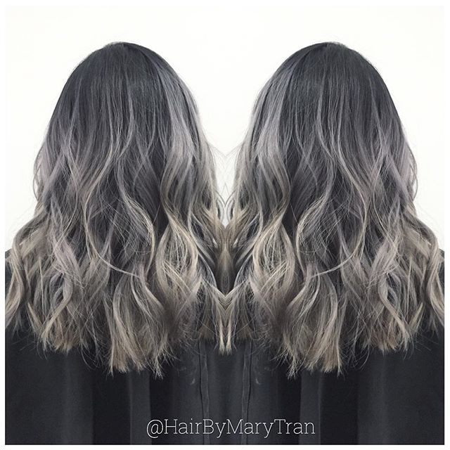 #mulpix Toner formula: Shadow root with #Redken shades EQ 1B+Clear then color melt 9B from mid shaft to ends for a blended Ombre.
