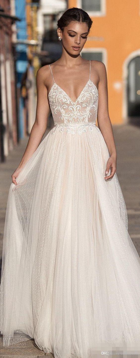 New Sexy Gali Karten Garden Beach Wedding Dresses Sleeveless Spaghetti Straps Robe De Soiree Backless Long Boho Brdial Gowns C520