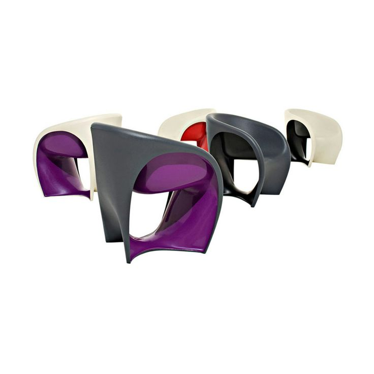 Mt1 by Ron Arad Armchair Polyethylene monobloc sand white or grey colored outside and red, lilac, black, violet colored inside.