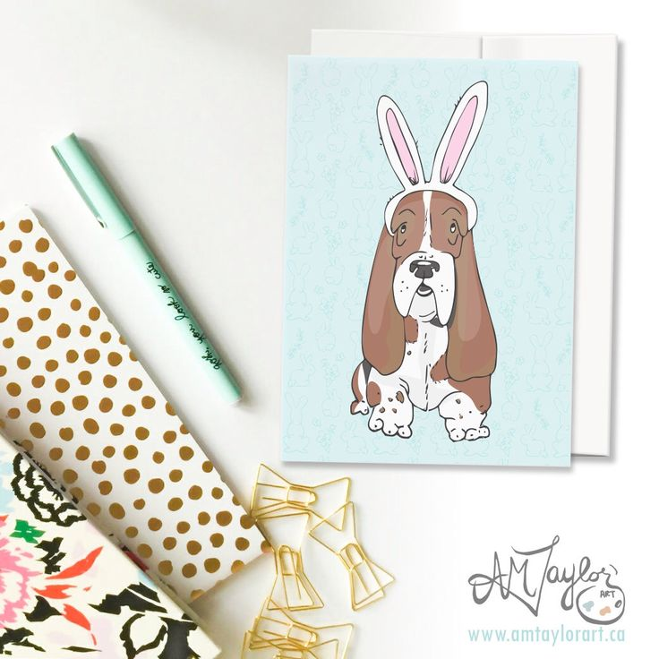 A personal favorite from my Etsy shop https://www.etsy.com/ca/listing/498049422/easter-card-hound-dog-bunny-card-for-dog