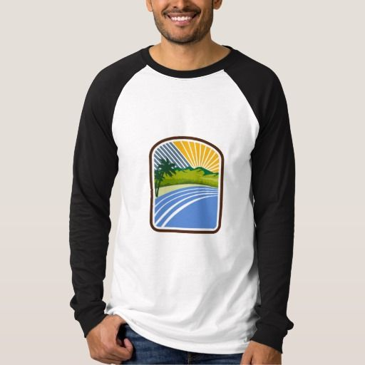 Tropical Trees Mountains Sea Coast Rectangle Retro T Shirt. Illustration of tropical trees, mountains and sea coast set inside rectangle shape with sunburst in the background done in retro style. #Illustration #TropicalTreesMountainsSeaCoast