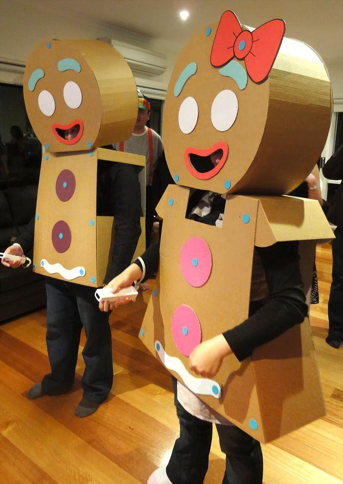 Homemade gingerbread man woman costumes diy gingerbread man costume