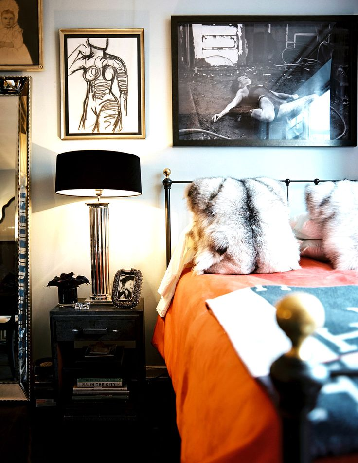 Eclectic bedroom with faux fur pillows