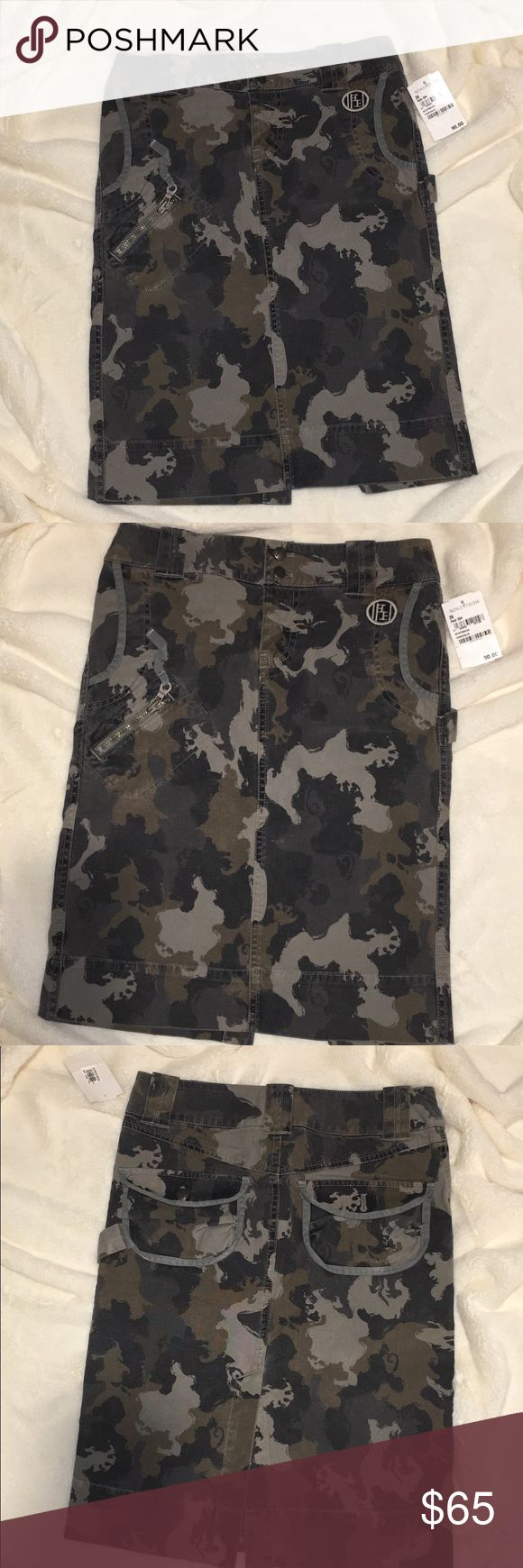 "RARE NWT DIESEL CAMOUFLAGE PENCIL SKIRT sz 26 Diesel Camouflage Pencil Skirt SIZE 6 Brand new w/ tags from Nordstrom (originally $90) 3 front pockets and 2 in the back. Double button snap at waist.  97% cotton  3% spandex  Approx 27.5"" waist  21"" in length  Camo will never go out of style!  Awesome investment piece! Dress is up or wear it casual!  It's the charcoal & grey colored Camo! I think it's the prettiest Camo out there !  Smoke & pet free home! Diesel Skirts Pencil"