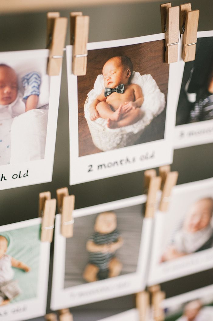 First year photo banner from a Modern Little Man Birthday Party on Kara's Party Ideas | KarasPartyIdeas.com (9)