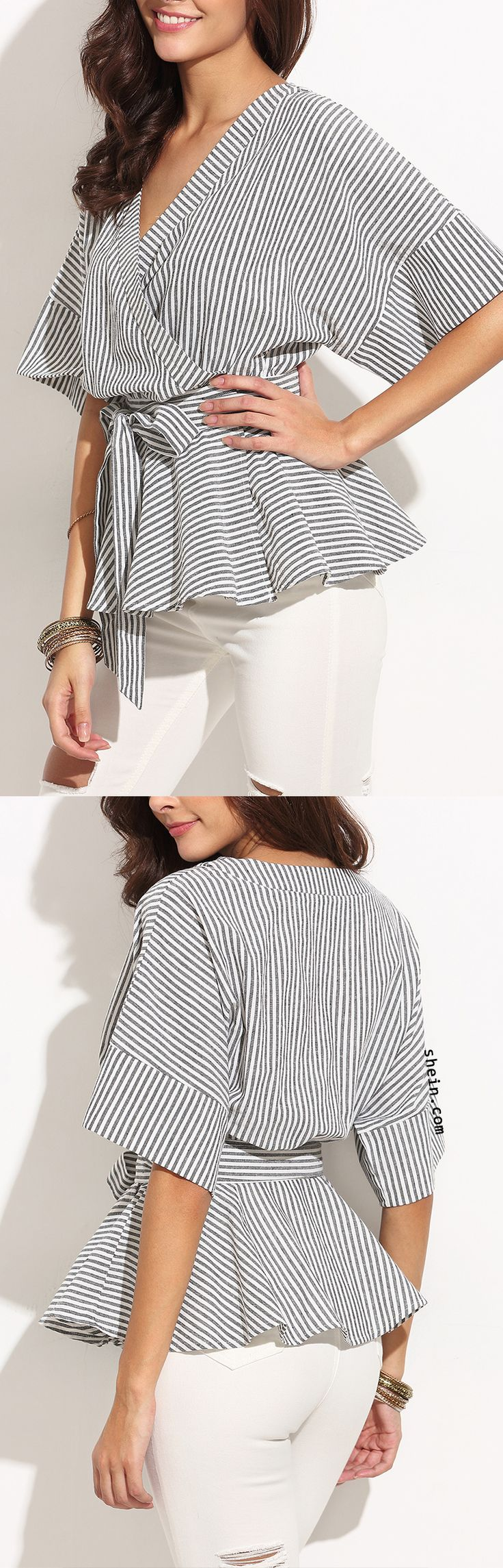 Black And White Stripe Bow Wrapped Blouse.