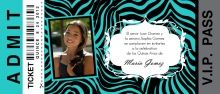 Turquoise Zebra Print Ticket Quinceanera Invitation from PurpleTrail #quinceanerainvitations