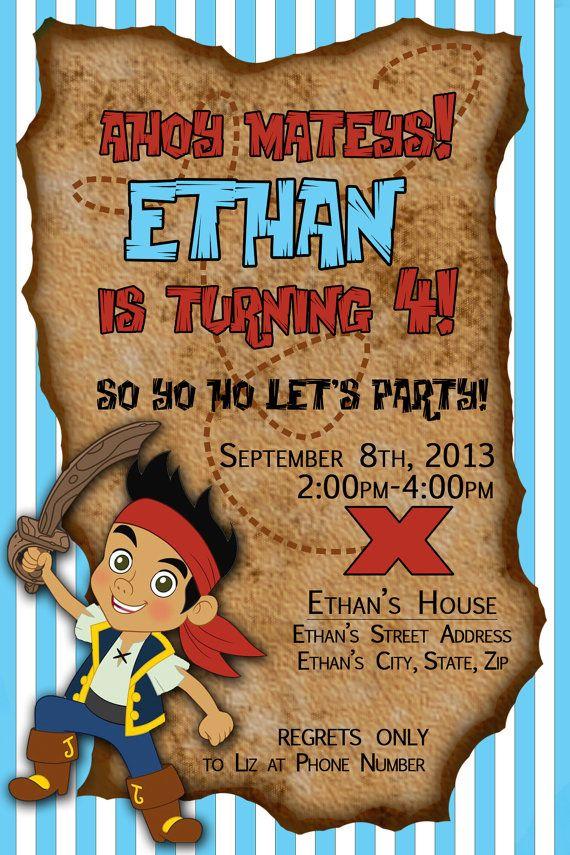Jake and the Neverland Pirates Birthday Party Invitation - Custom Digital Invitation