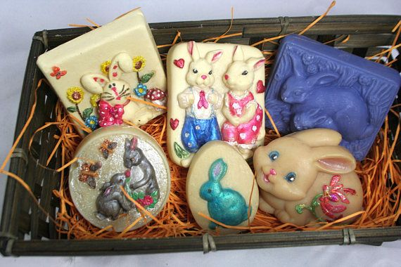 Bunny Rabbit Themed Hand Painted Cold Process Soaps