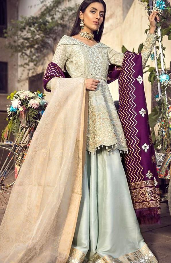 Pakistani Bridal Dresses Ice Blue Peplum Sharara In 2020 Pakistani Bridal Dresses Ice Dresses Pakistani Bridal