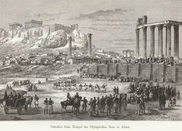 1887, Εορτασμός του Πάσχα στον Ναό του Ολυμπίου Διός. - SCHWEIGER LERCHENFELD, Amand von