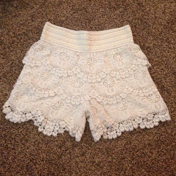Cream Lace Shorts Cream Lace Shorts! Bought from another posher but were too small! They are mediums but run a little small! Perfect for summer & super comfortable! Shorts