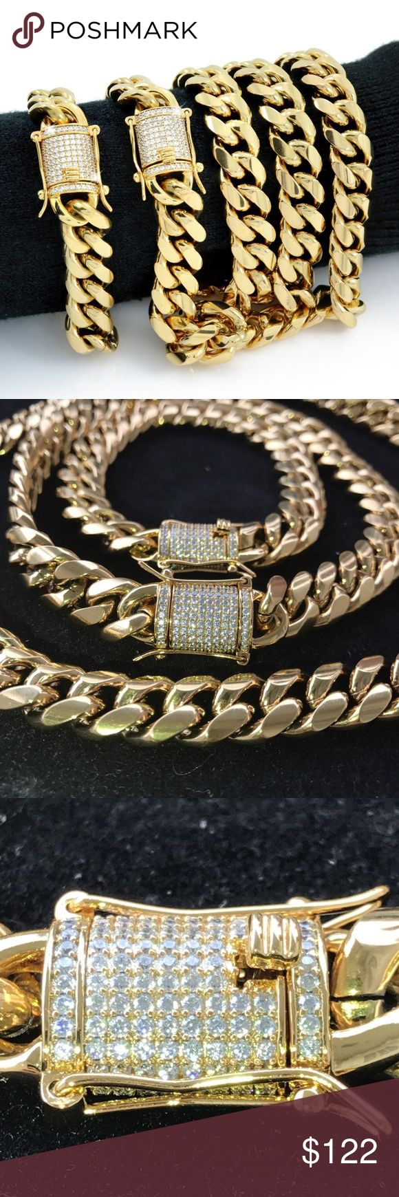 "Mens Cuban Miami Link Bracelet & Chain Set Men's 30"" Miami Cuban chain & 8.5"" bracelet matching set  18k gold over stainless steel  10mm thick  