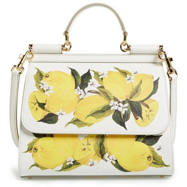 62756ef6dfc Dolce&Gabbana 'Medium Miss Sicily' Lemon Print Leather Satchel ($2,595) ❤  liked on Polyvore featuring bags, handbags, limone bianco, to…