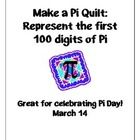 Celebrate Pi Day by making a Pi Quilt representing the first 100 digits of pi!! Students in middle school and high school wlil LOVE seeing pi come to life in color!