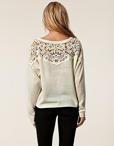 Adorable sweater - upcycle an old sweater, cut out the upper portion & replace by sewing in some pretty lace!