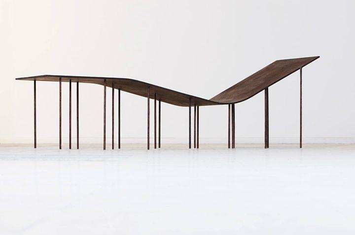 Levity chaise lounge out  of brown birch wood   long chair . Liegestuhl . chaise longue   Design: Lakos Dániel  Zsanett Benedek   Photo: Tamás Bujnovszky  
