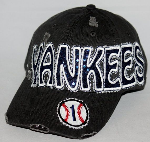 Custom baseball hat. Yankees hat is embellished with sparkly