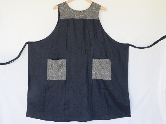Women's wrap dress, traditional Japanese print, black linen, genuine handmade, pinafore, jumper, Linen clothing, apron, maternity dress.
