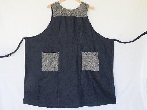 Women's  wrap dress, traditional Japanese print, black  linen, genuine handmade, pinafore, jumper, Linen clothing, apron, maternity dress.