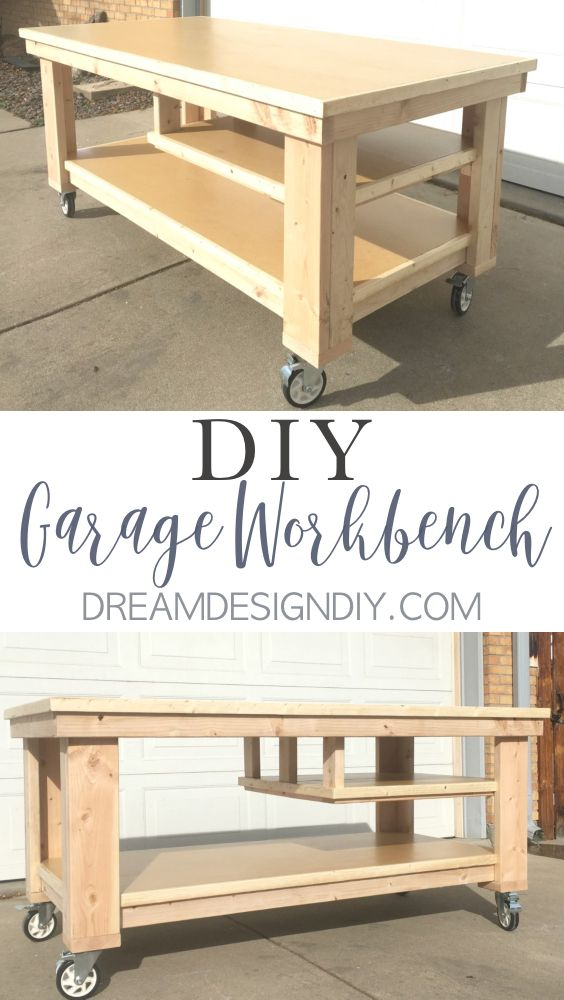 This DIY Garage Workbench on wheels is the perfect mobile, multifunctional build to organize your garage or workshop and work on your projects all in one space. I am particularly fond of the half middle shelf that is ideal for keeping power tools close at hand while still allowing storage of larger items on the bottom shelf. The height works perfect as an out feed for a table saw. Get the step by step tutorial with pictures and plans.