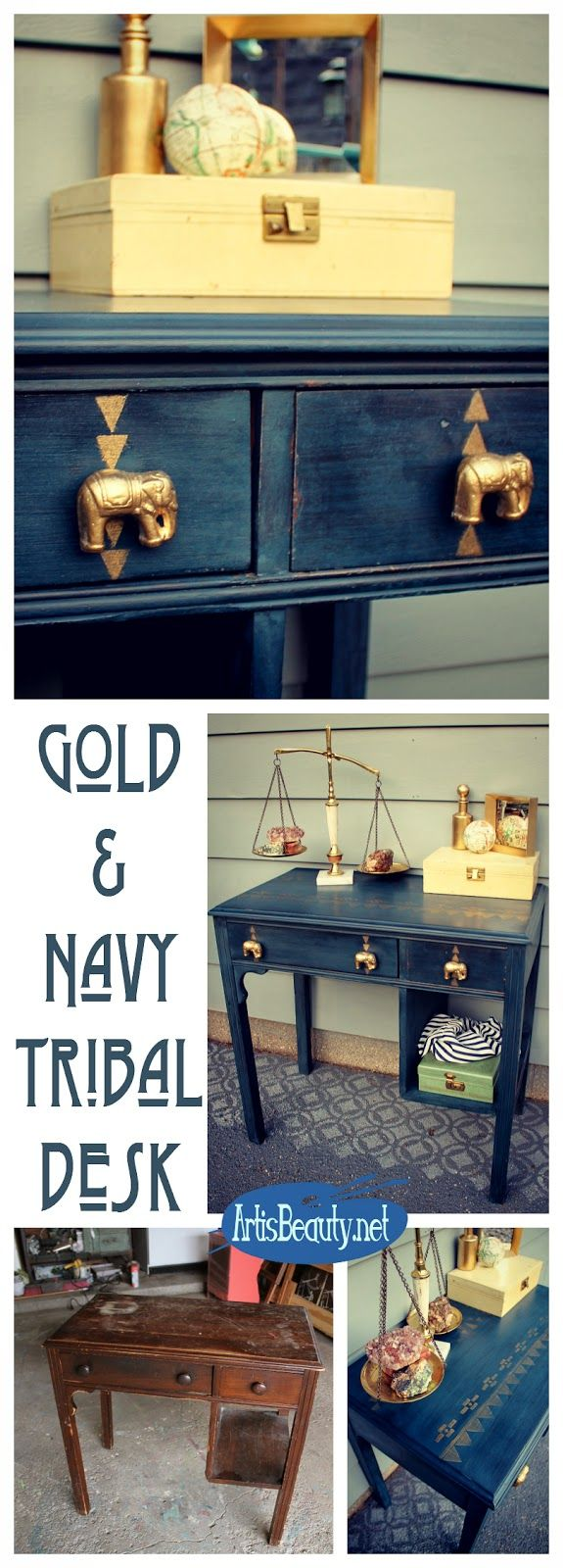 The Golden Elephant! Navy and Gold Tribal Aztec Desk Makeover