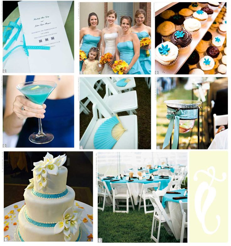 Turquoise, yellow, and navy blue wedding