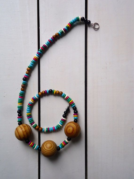 Ode to Pippi Longstocking Necklace in Wood and semi precious stone. by CustardFox on Etsy. $22