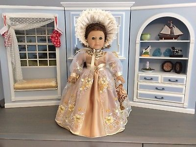 """VICTORIAN YELLOW DRESS & ACCESSORIES FOR 18"""" AMERICAN GIRL DOLL, FELICITY"""
