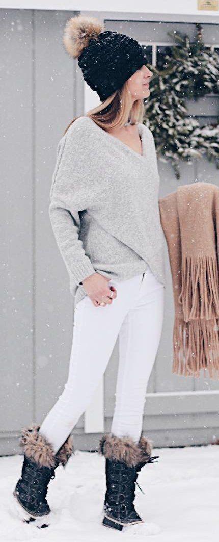 #winter #fashion /  Black Beanie / Grey V-neck Knit / White Skinny Jeans / Black Snow Boots