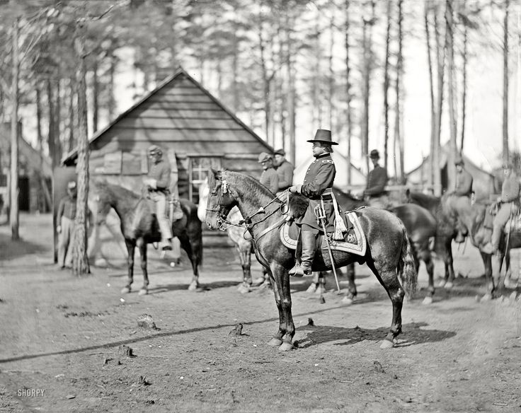"""April 1864. """"Brandy Station, Virginia. Gen. Rufus Ingalls on horseback. Photograph from the main Eastern theater of war -- winter quarters at Brandy Station."""""""