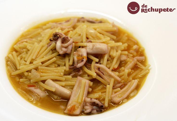 Perfecta para la comida del domingo, fácil, rápida y barata, fideos con calamares http://www.recetasderechupete.com/fideos-con-calamares/11778/ #fideos #calamares #derechupete
