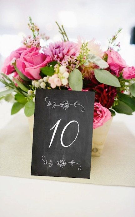 Floral Chalkboard Table Number Cards (FLAT - Single Sided) - Ready to Ship