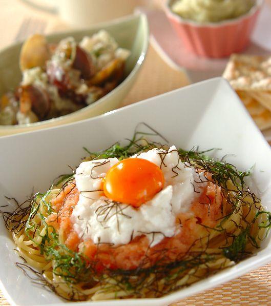 「明太とろろパスタ」の献立・レシピ - 【E・レシピ】料理のプロが作る簡単レシピ/2010.09.25公開の献立です。
