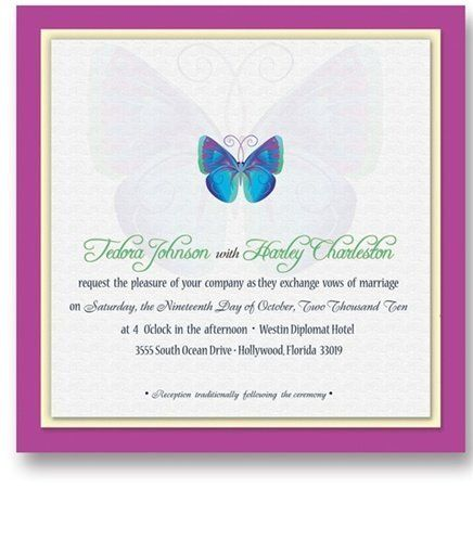 105 Square Wedding Invitations - Butterfly Blue by WeddingPaperMasters.com. $276.15. Now you can have it all! We have created, at incredible prices & outstanding quality, more than 300 gorgeous collections consisting of over 6000 beautiful pieces that are perfectly coordinated together to capture your vision without compromise. No more mixing and matching or having to compromise your look. We can provide you with one piece or an entire collection in a one stop shopping experien...