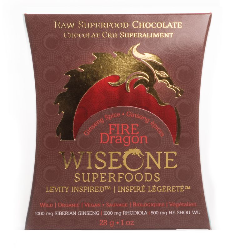 Fire Dragon ~ Ginseng Spice ~ With Chinese tonic herbs and the breath of a dragon, this WISE chocolate is the martial artist's ultimate karate kick.